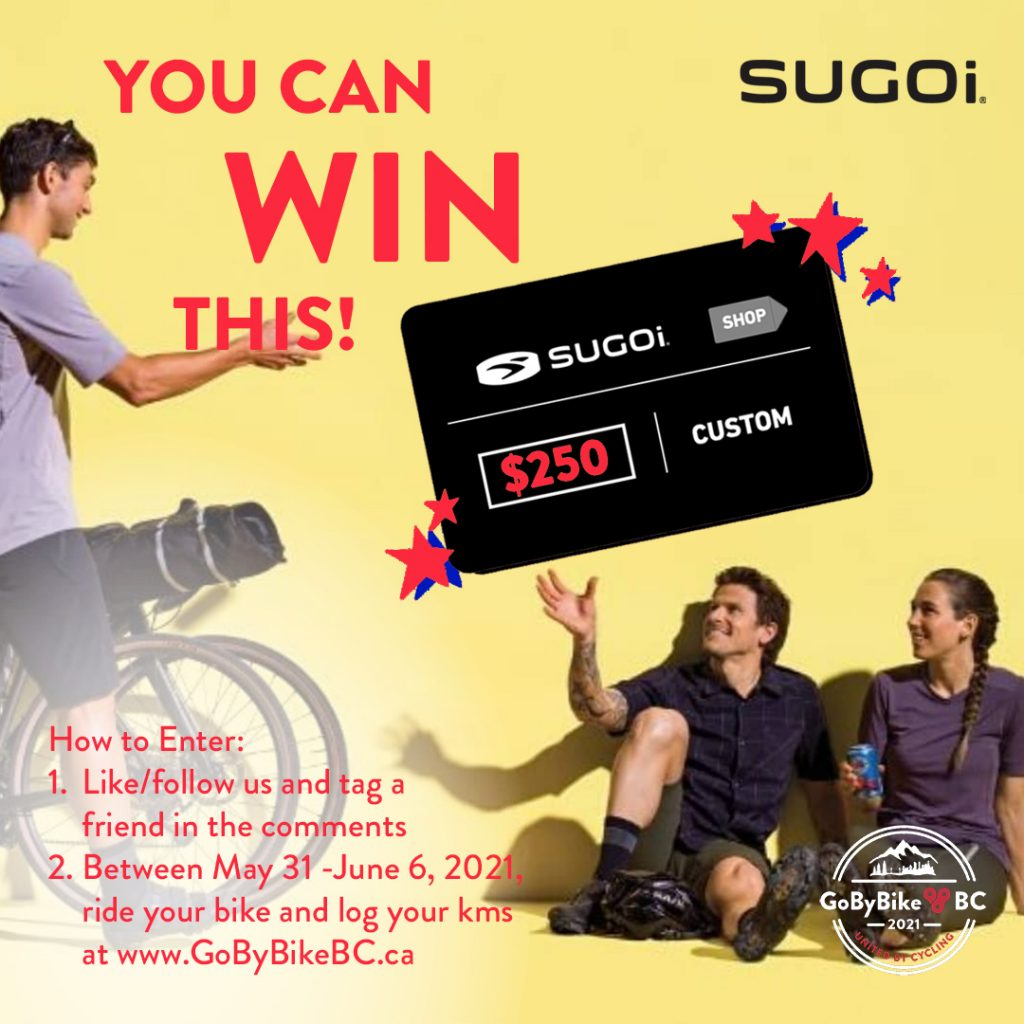Win a $250 gift to go online shopping at Sugio when registering for Spring GoByBike 2021.