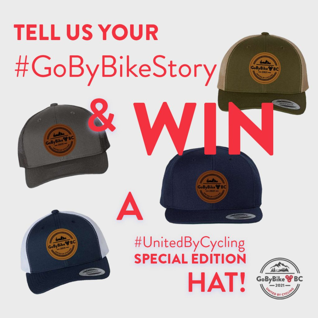 Win a #UnitedByCycling special edition hat when registering for Spring GoByBike Week, May 31 - June 6, 2021!